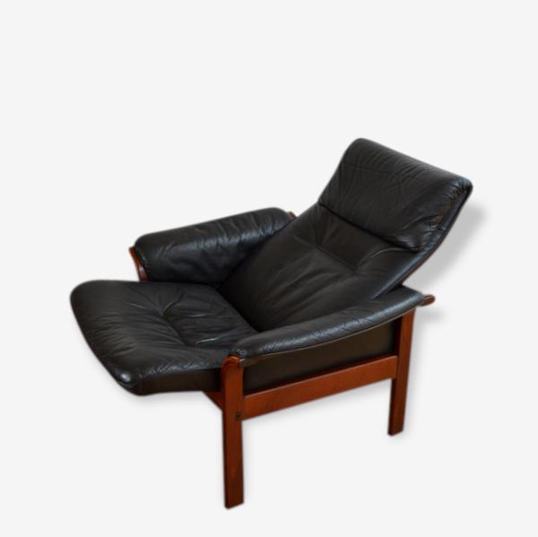 Fauteuil relax scandinave G Mobel Sweden cuir noir