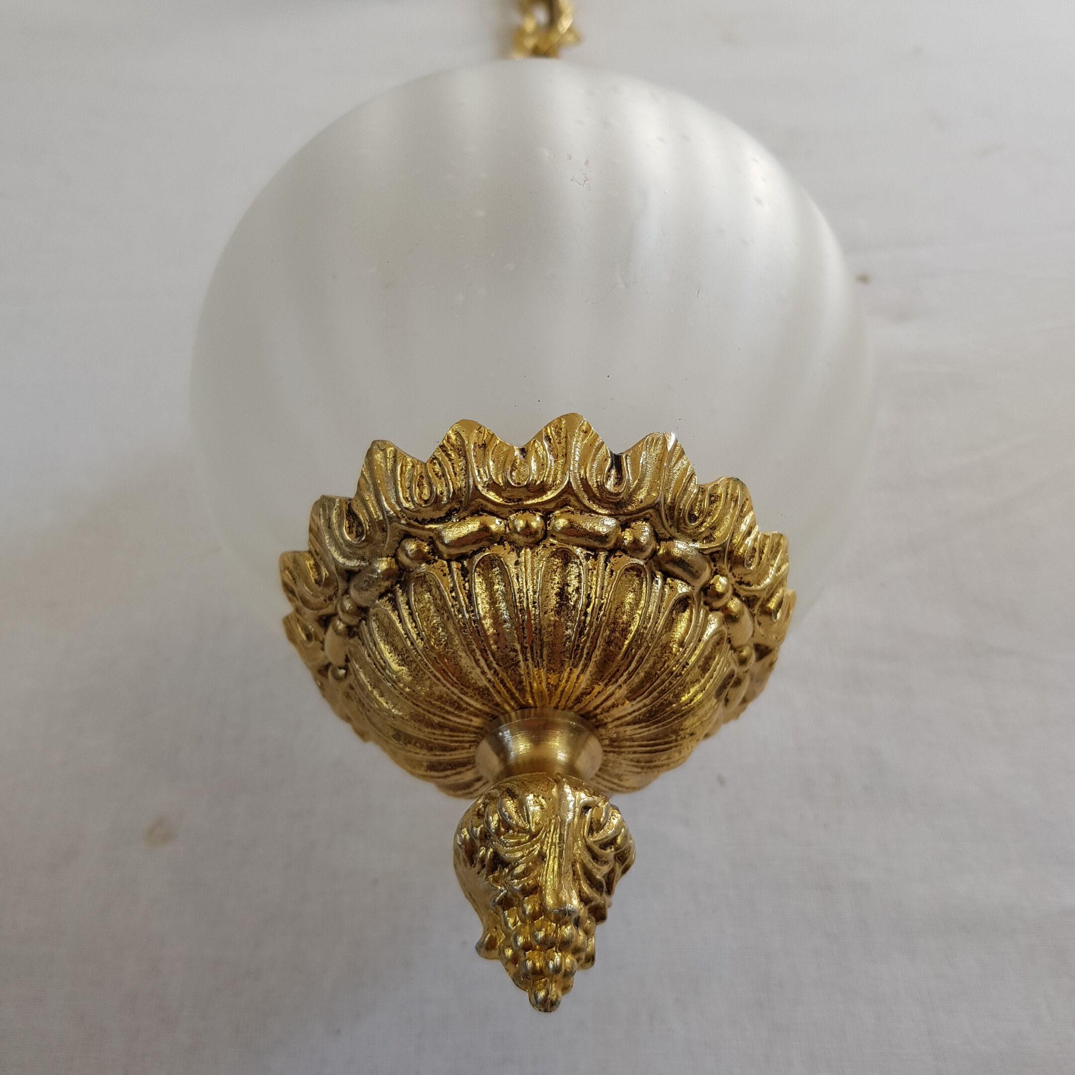 Rétro Pendule Plafonnier de travail chambre planches Lanterne Verre Lustre Gold