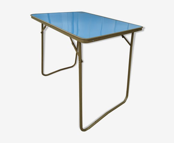 table de camping formica vintage formica bleu vintage fx5xtku. Black Bedroom Furniture Sets. Home Design Ideas