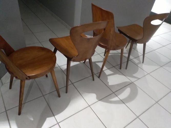 Suite de 4 chaises bistrot Baumann Mondor et Fourmi 1960