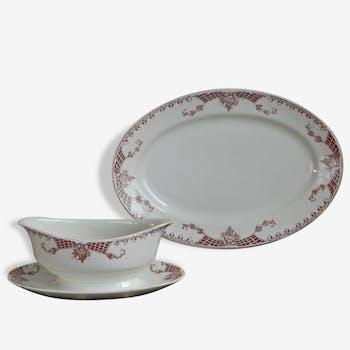 Plat ovale et saucière Boch La Louvière Modèle Lily