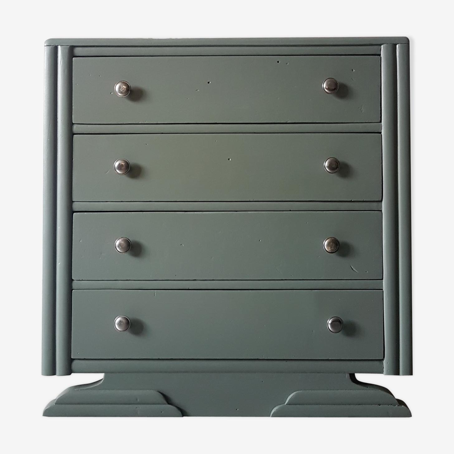 Commode art deco en bois vert de gris