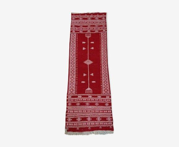 Tapis Kilim couloir rouge et blanc 193x63cm