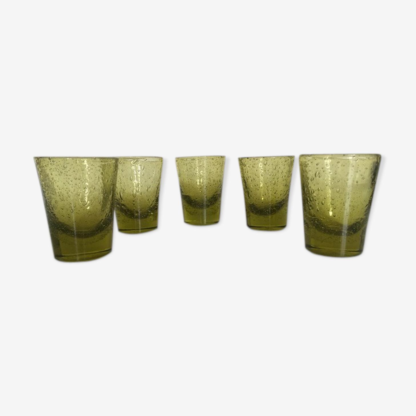 Set of 5 Biot glass cups green khaki 60
