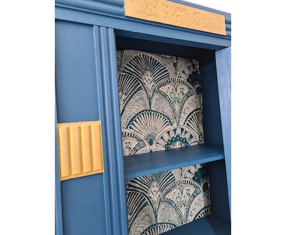 Armoire années 30 style art deco motif réalisé en metaline laiton extérieur bleu intérieur ouatine ti