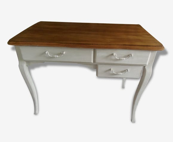 Bureau vintage patinée gris perle plateau bois bois matériau