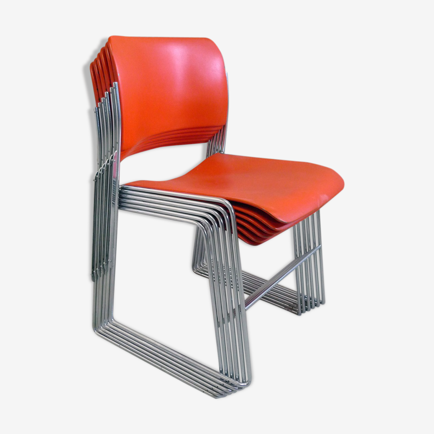 Lot de 6 chaise 404 par David Rowland 1970