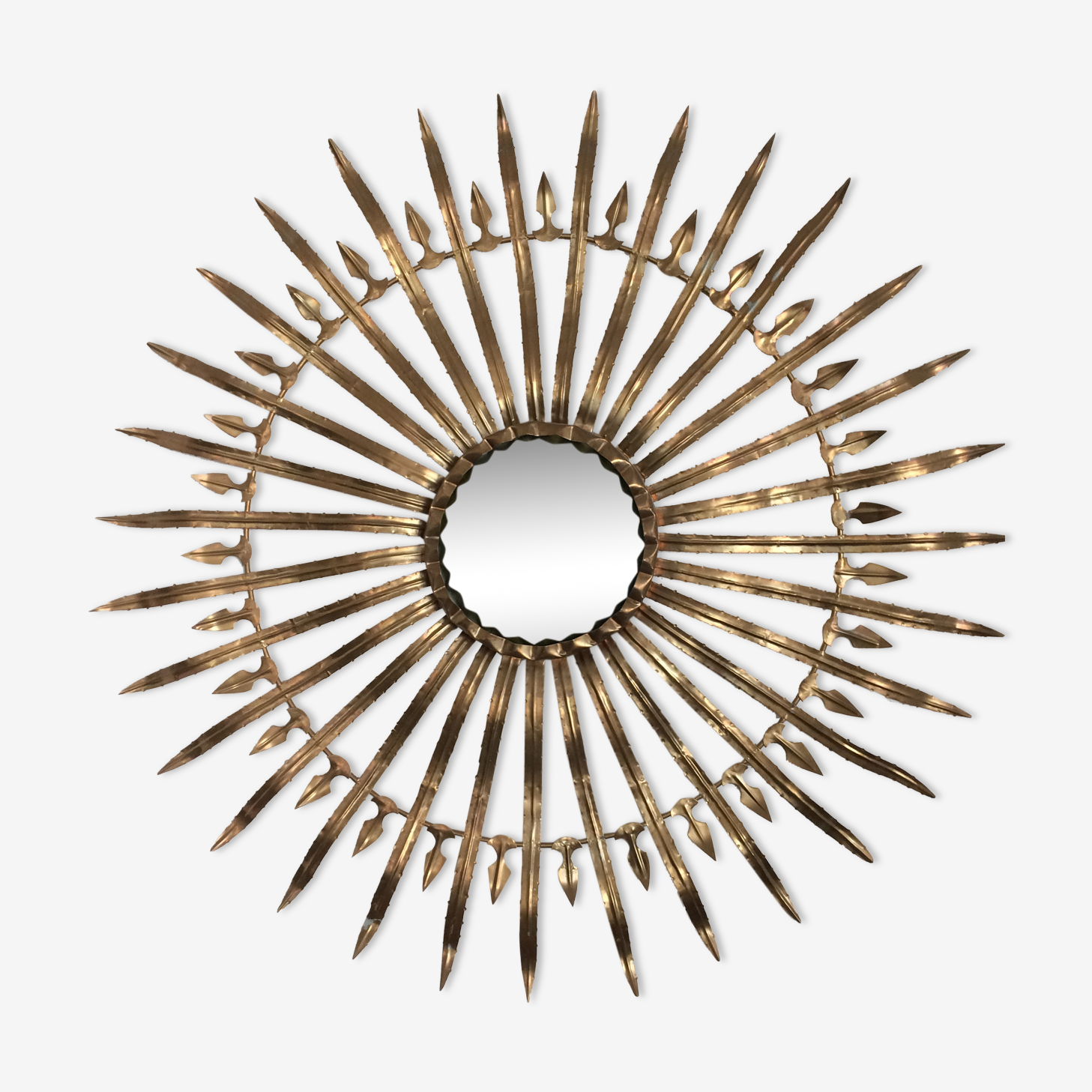 Très beau miroir sorcière alliage bronze et laiton diamètre 100cm
