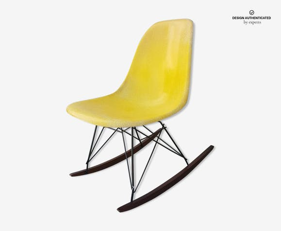 Eames Rocking Chair : Eames herman rocking chair by miller in yellow fiberglass