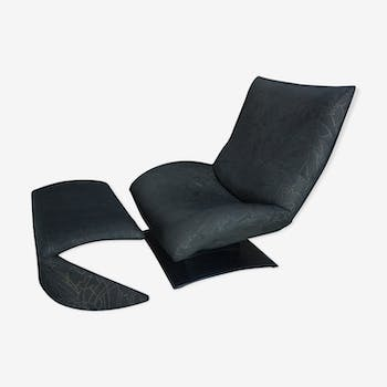 """Wave"" F7665 armchair and ottoman by Peter Van Der Ham for Artifort"