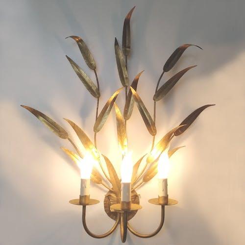 Applique xl dorée florale feuilles 70cm