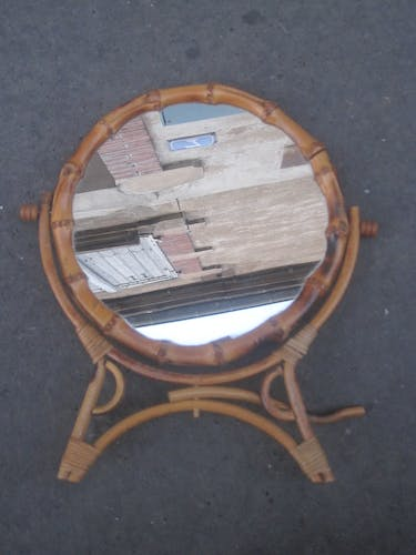 Vintage bamboo table mirror 20cm