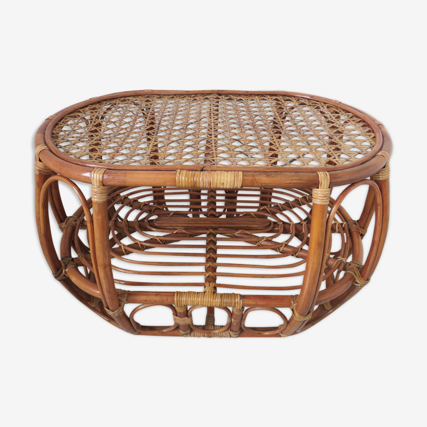 Rattan and caning coffee table 60/70