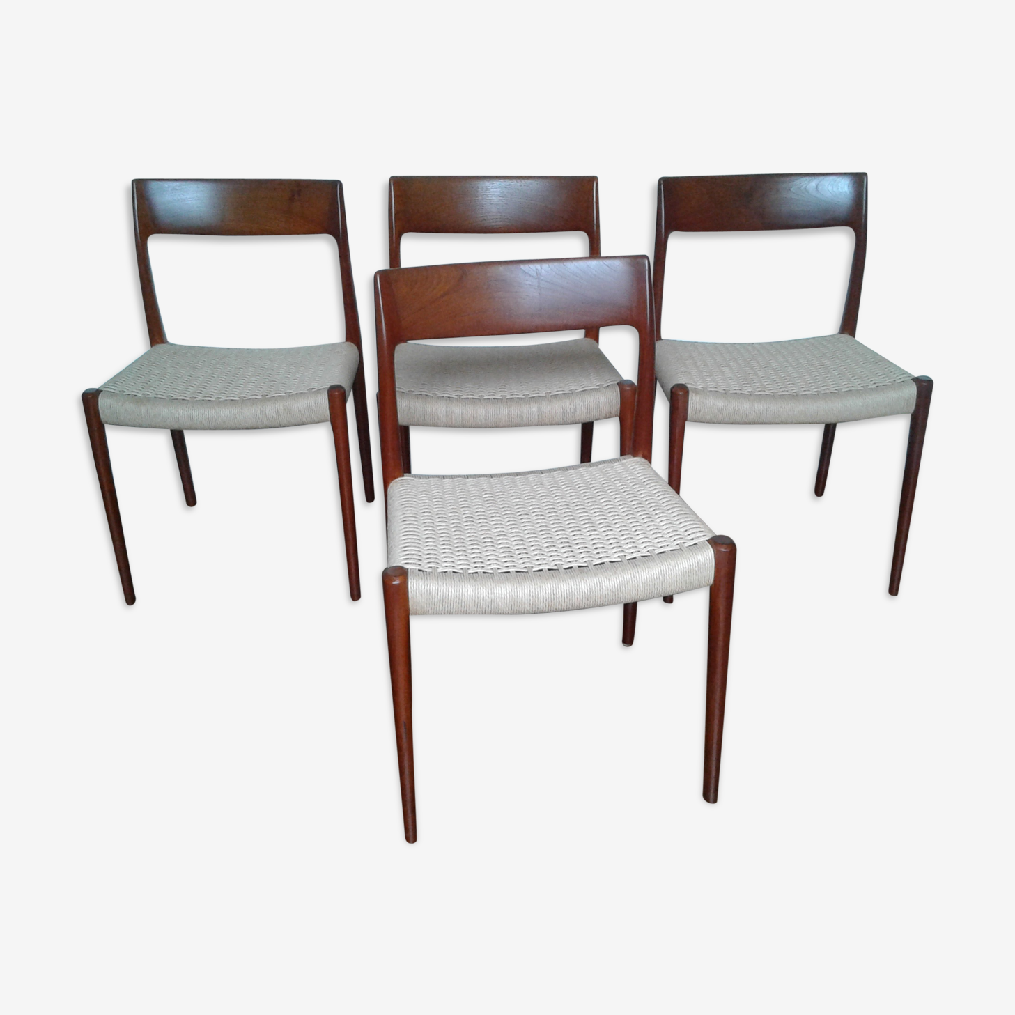 Lot de 4 chaises scandinave de Niels Moller Niels années 60