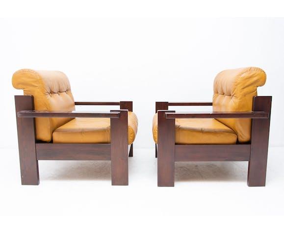 Fauteuils de style scandinave en cuir vintage, 1980
