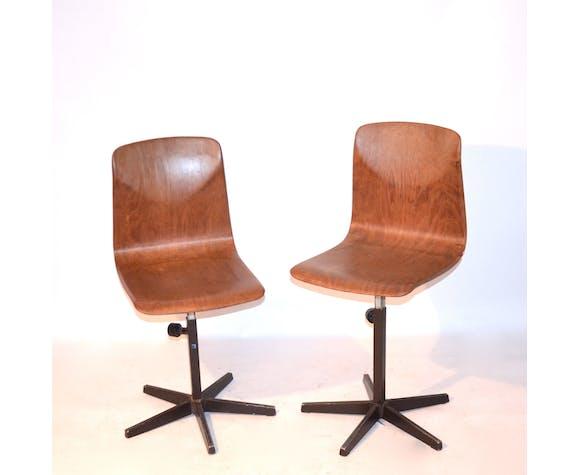 Paire de chaises Pagholz années 60 réglables en hauteur
