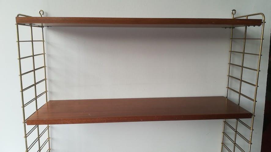 """Étagére """"string"""" 1960 laiton et teck"""