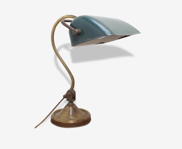 Ancienne Lampe De Bureau Style Banquier Laiton Art Deco 96993