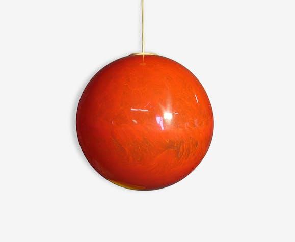 Suspension boule resine flos .vintage1960 . teck orange design