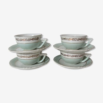 4 cups and saucers mint and gold model Seville Moulin des Loups