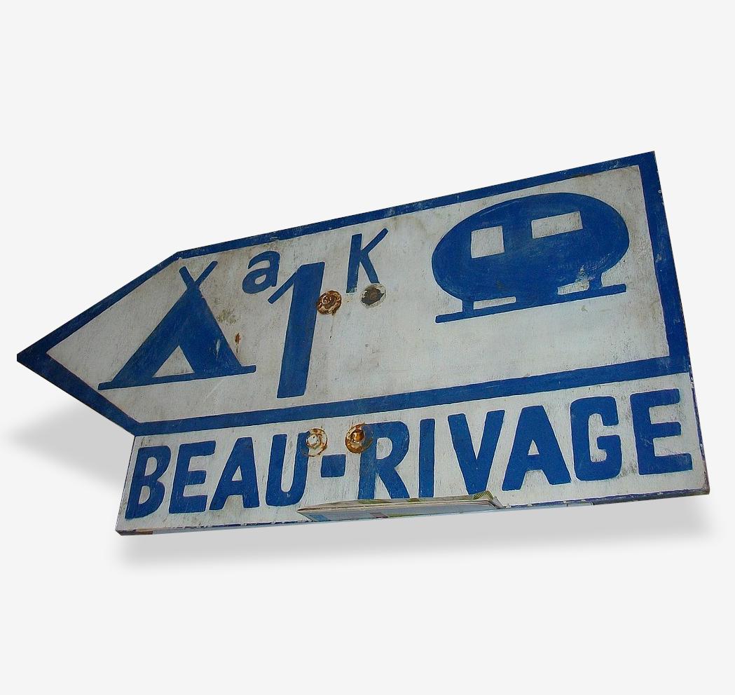 "Vintage camping caravaning : Panneau ancien ""Beau Rivage"""