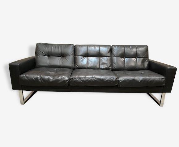 Canapé Places Tout Cuir Et Chrome DESIGN Cuir Noir - Canape tout cuir