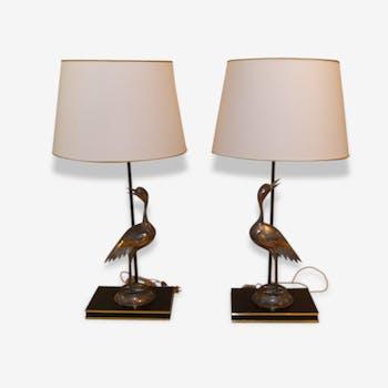 Paire de lampes sculpures en forme d'oiseaux