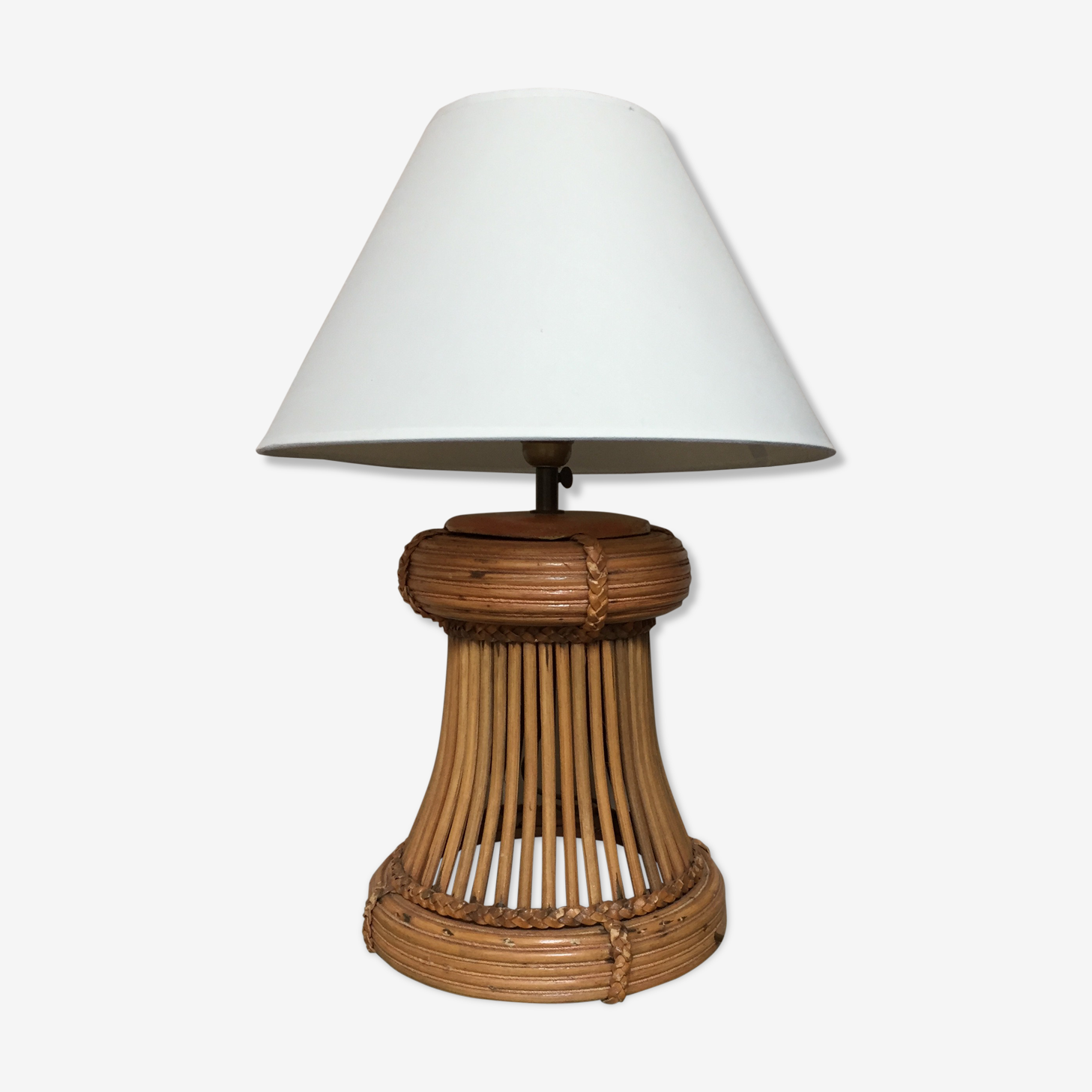 Lamp in wicker and rattan 60s