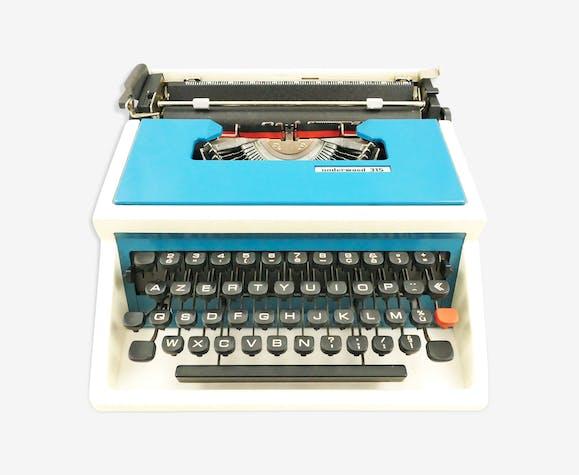 Machine à écrire underwood 315 bleue et blanche vintage révisé ruban neuf
