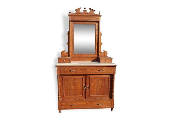 meuble de toilette pitchpin marbre 1900 bois mat riau. Black Bedroom Furniture Sets. Home Design Ideas