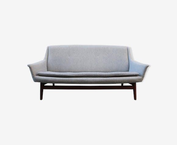 Canapé deux places danois des années 60 en teck et tissu