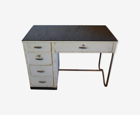 Bureau bauhaus en métal et plateau verre opaline noir épais fer