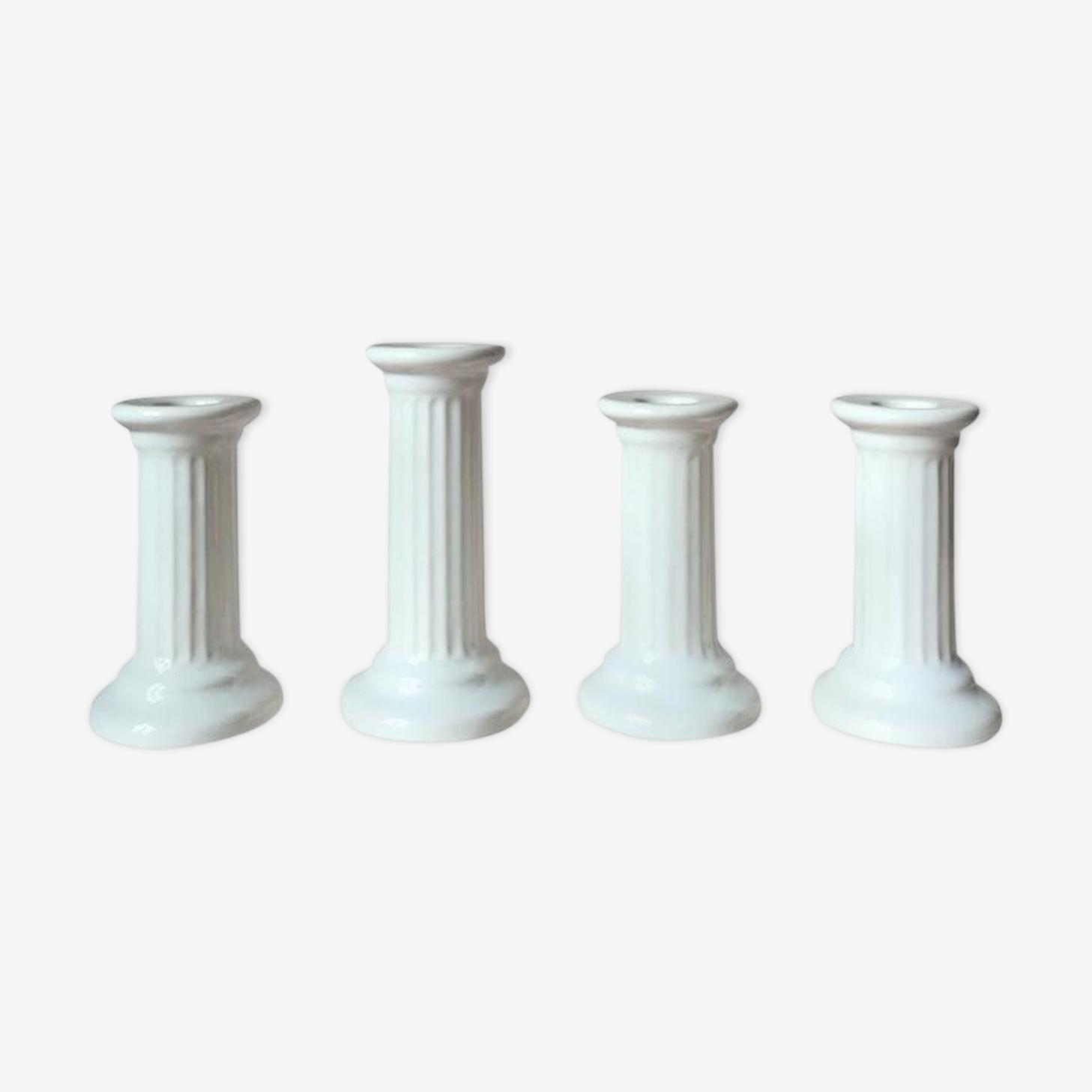 4 Vintage Swedish Ceramic Column White Candle Holders from Guldkroken