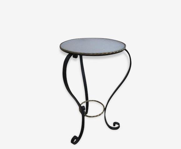 gu ridon en verre perl et fer forg 1970 m tal multicolore vintage 153333. Black Bedroom Furniture Sets. Home Design Ideas