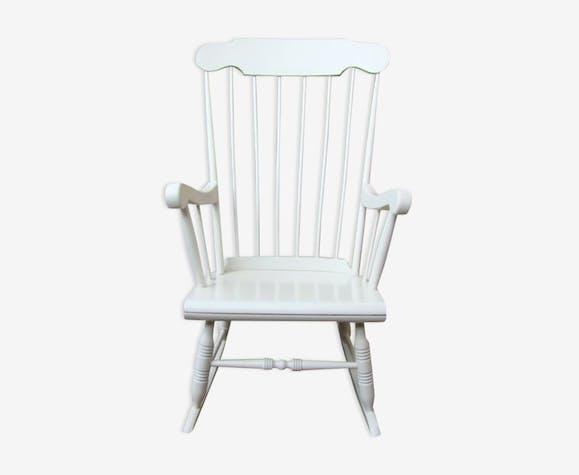 rocking chair bois ann es 50 bois mat riau blanc vintage 7hdfgxn. Black Bedroom Furniture Sets. Home Design Ideas