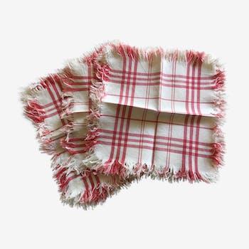 Série de 10 serviettes frangées rayures torchons années 50