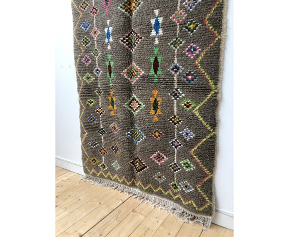 Tapis berbère marocain azilal foncé à losanges multicolores 256x141cm