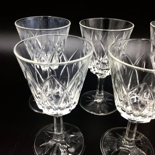 Lot of white wine glasses