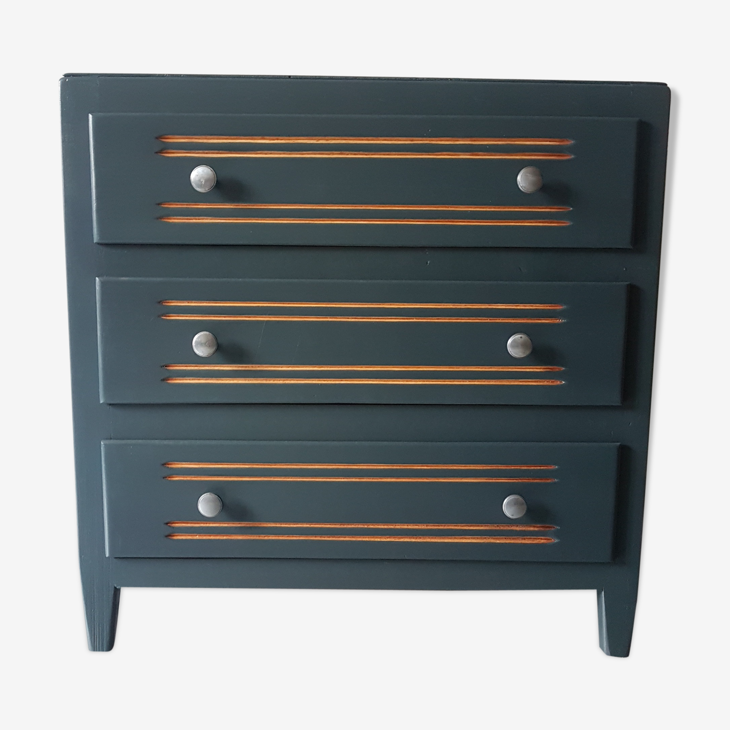 Small compact charcoal gray vintage chest of drawers