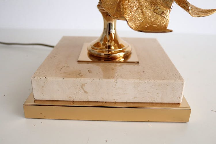 French travertine and gold plated table lamp 1970s