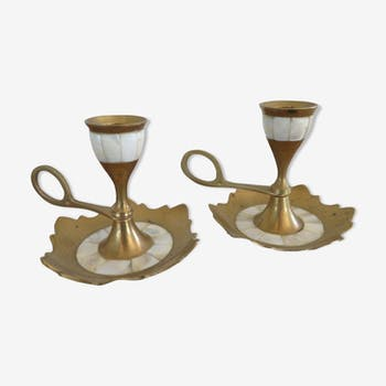 Candlesticks vintage mother-of-Pearl and brass