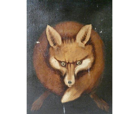 Tableau, huile sur toile animalière, renard
