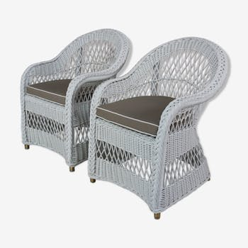 Pair of chairs in white style braided rattan Loom Loyd with cushions