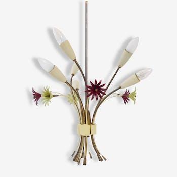 Superbe plafonnier bouquet de fleurs années 50 vintage design 50's rockabilly lamp