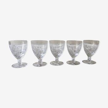 Lot of 5 former crystal wine glasses