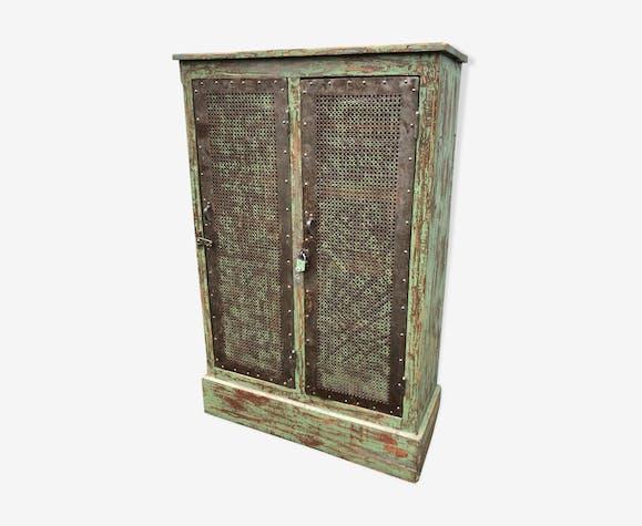 armoire industrielle, déco loft - bois (matériau) - vert