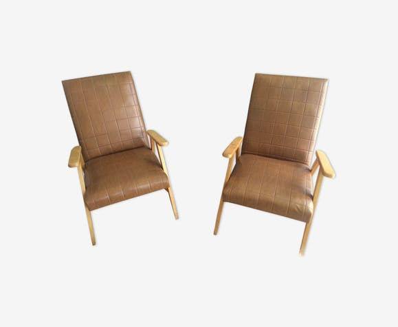 Paire de fauteuils en skai