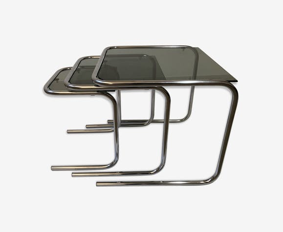 Tables Gigognes Space Age Vintage 70 Chrome Verre Fume Selency