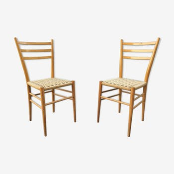 Pair rattan meal chairs 60s