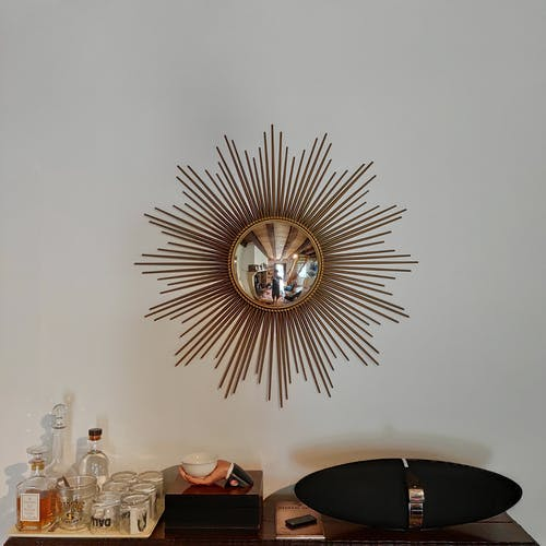Mirror sun witch eye Chaty Vallauris France 50/60's 96x96cm